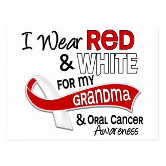 Red And White For Grandma Oral Cancer Postcard