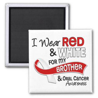 Red And White For My Brother 42 Oral Cancer 2 Inch Square Magnet