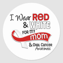 Red and White For My Mom 42 Oral Cancer Classic Round Sticker