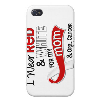 Red and White For My Mom 42 Oral Cancer iPhone 4/4S Covers