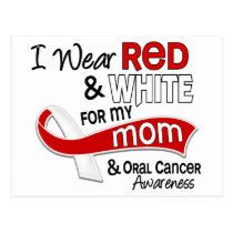 Red and White For My Mom 42 Oral Cancer Postcard