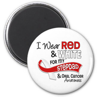Red And White For My Stepdad 42 Oral Cancer 2 Inch Round Magnet