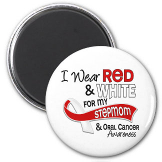 Red And White For My Stepmom 42 Oral Cancer 2 Inch Round Magnet