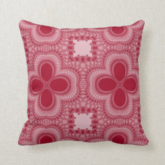 Red and White Four Petal Flower Abstract Pillow