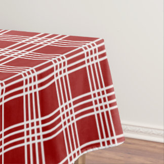 Red And White Four Stripe Plaid Tablecloth