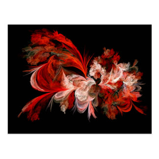 Red And White Fractal Postcard