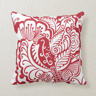 Red and White Garden Throw Pillow