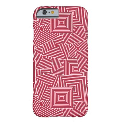 Red and White Geometric Square Pattern Barely There iPhone 6 Case