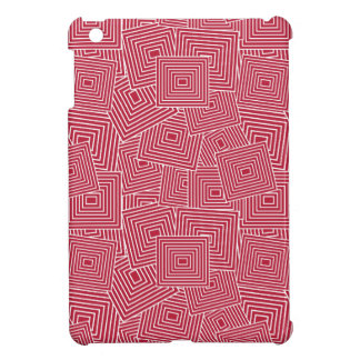 Red and White Geometric Square Pattern Cover For The iPad Mini