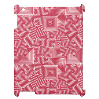 Red and White Geometric Square Pattern iPad Cases