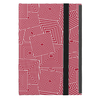 Red and White Geometric Square Pattern iPad Mini Cover