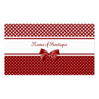 Red and White Gingham and Polka Dots Boutique Business Card