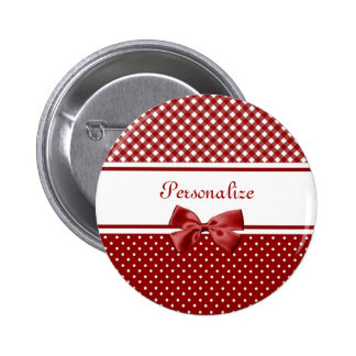 Red and White Gingham and Polka Dots Button