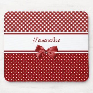 Red and White Gingham and Polka Dots With Name Mouse Pad