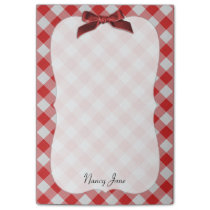 Red and White Gingham Check Pattern Personalized Post-it Notes