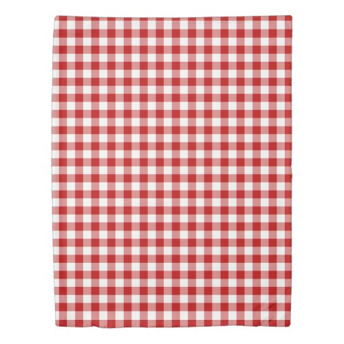 Red and White Gingham Checked Pattern Duvet Cover