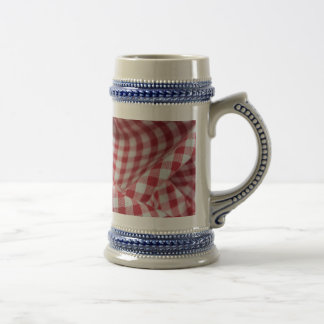 Red and White Gingham Checkered Cloth Beer Stein