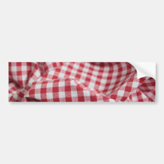 Red and White Gingham Checkered Cloth Bumper Sticker