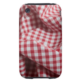 Red and White Gingham Checkered Cloth iPhone 3 Tough Cases
