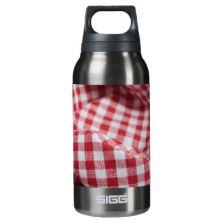 Red and White Gingham Checkered Cloth Insulated Water Bottle