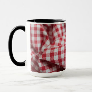 Red and White Gingham Checkered Cloth Mug