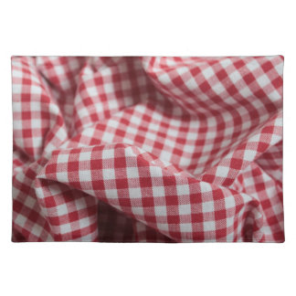 Red and White Gingham Checkered Cloth Placemat