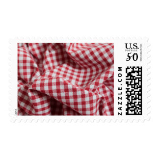 Red and White Gingham Checkered Cloth Postage