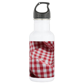 Red and White Gingham Checkered Cloth Stainless Steel Water Bottle