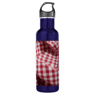 Red and White Gingham Checkered Cloth Water Bottle