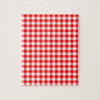 Red and White Gingham Checks Jigsaw Puzzle