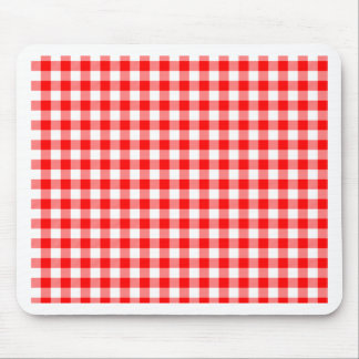 Red and White Gingham Checks Mouse Pad