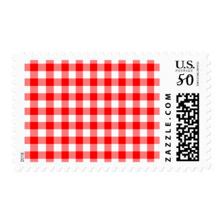 Red and White Gingham Checks Postage