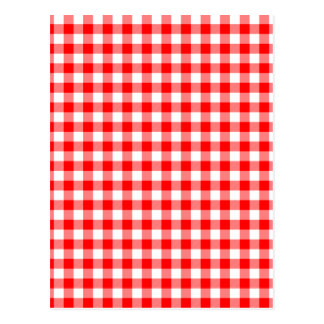 Red and White Gingham Checks Postcard