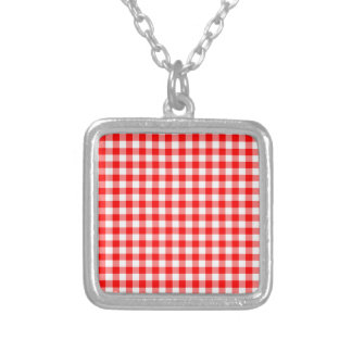 Red and White Gingham Checks Silver Plated Necklace