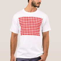 Red and White Gingham Checks T-Shirt