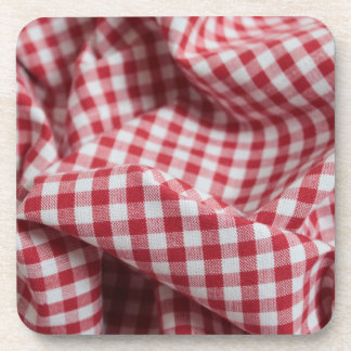 Red and White Gingham Fabric Coaster