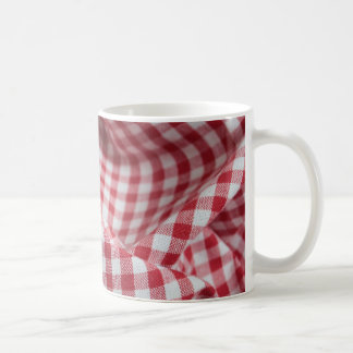 Red and White Gingham Fabric Coffee Mug
