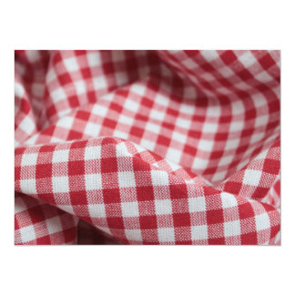 """Red and White Gingham Fabric 5.5"""" X 7.5"""" Invitation Card"""