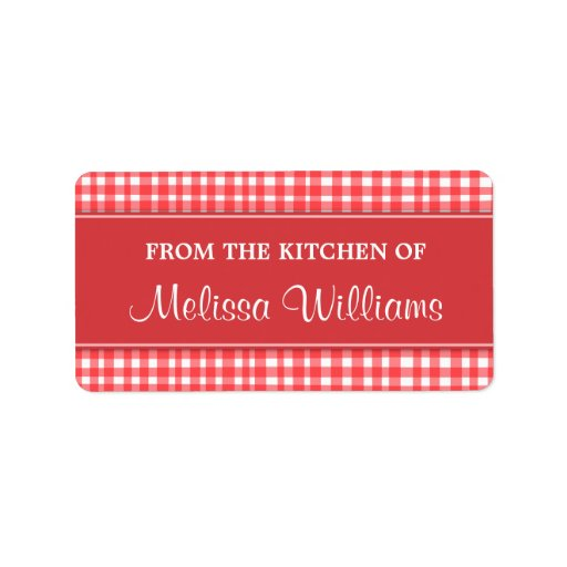 Red And White Gingham From The Kitchen Of Labels Zazzle