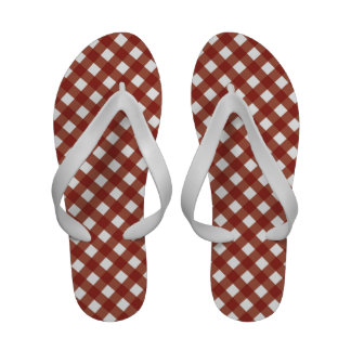 Red and White Gingham Medium Flip Flops