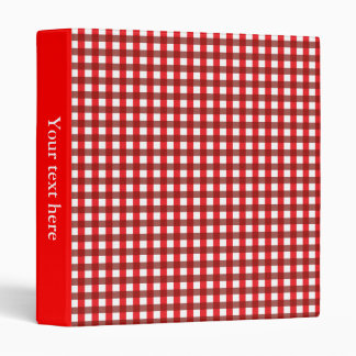 Red and White Gingham Pattern 3 Ring Binder