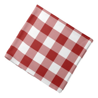 Red and White Gingham Pattern Bandana