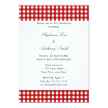 """Red and White Gingham Pattern Barbeque 5"""" X 7"""" Invitation Card"""