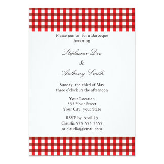 Red and White Gingham Pattern Barbeque 5x7 Paper Invitation Card