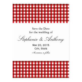 Red and White Gingham Pattern Barbeque Postcard