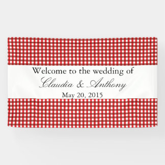 Red and White Gingham Pattern Barbeque Wedding Banner