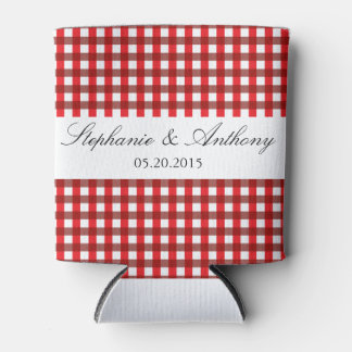Red and White Gingham Pattern Barbeque Wedding Can Cooler