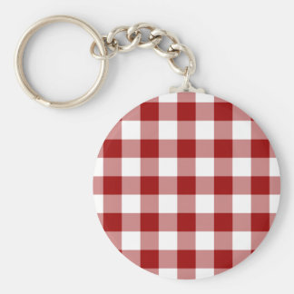 Red and White Gingham Pattern Basic Round Button Keychain