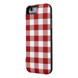 Red and White Gingham Pattern Battery Case