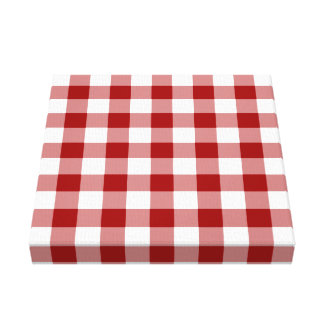 Red and White Gingham Pattern Canvas Print